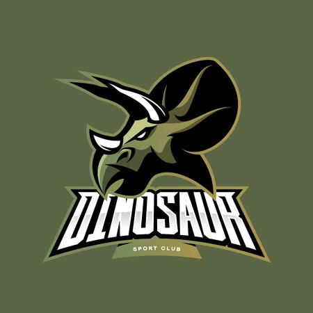 paintball: Furious dinosaur sport club vector logo concept isolated on khaki background. Modern team badge mascot design. Premium quality wild reptile t-shirt tee print illustration. Savage monster icon. Illustration