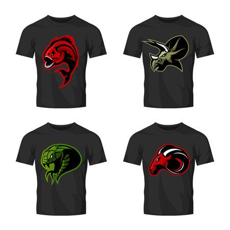 Furious piranha, ram, snake and dinosaur head sport vector logo concept set on black t-shirt mockup. Illustration