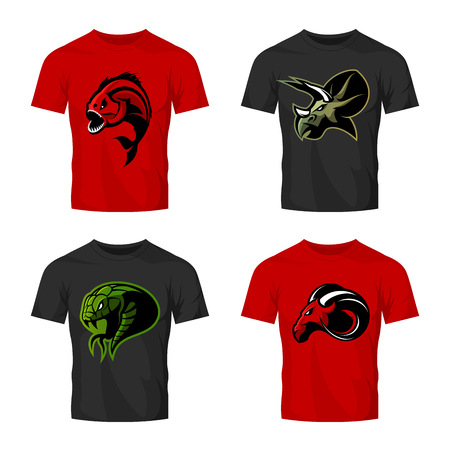Furious piranha, ram, snake and dinosaur head sport vector logo concept set on t-shirt mockup.