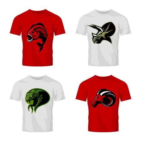 Furious piranha, ram, snake and dinosaur head sport vector logo concept set on white t-shirt mockup. Modern team design. Premium quality wild animal t-shirt tee print illustration. Illustration
