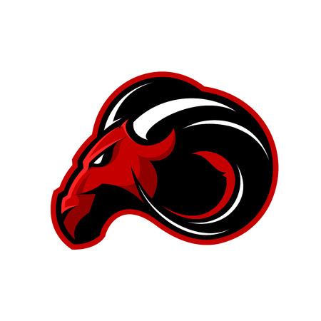 Concept de logo vectoriel de ram furieux ram sport club isolé sur fond blanc. Conception de mascotte badge équipe professionnelle moderne. Animal sauvage de qualité supérieure.
