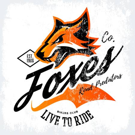 Vintage American furious fox bikers club tee print vector design isolated on white background. Street wear t-shirt emblem. Mascot logo concept illustration. Logo