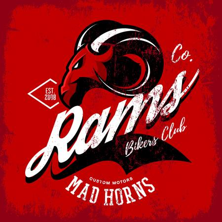 Vintage American furious ram bikers club tee print vector design isolated on red background. Street wear t-shirt emblem. Mascot logo concept illustration. Vettoriali