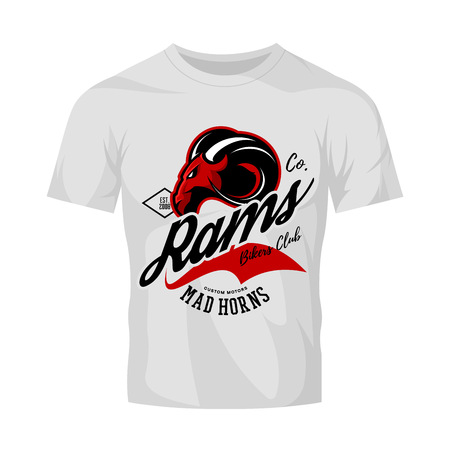 Vintage American furious ram bikers club tee print vector design isolated on white t-shirt mockup. Street wear t-shirt emblem. Mascot logo concept illustration. Vettoriali