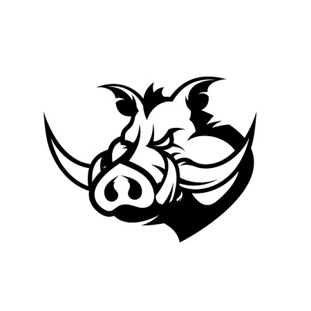 Furious boar head sport club vector logo concept isolated on white background