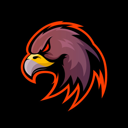 Furious eagle sport vector logo concept isolated on black background Illustration