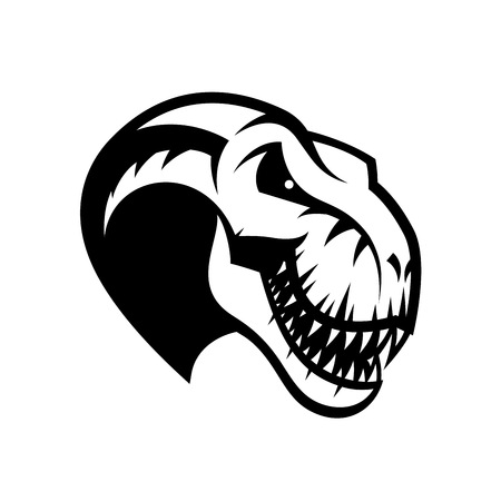 Dinosaur head sport club vector logo concept isolated on white background Illusztráció