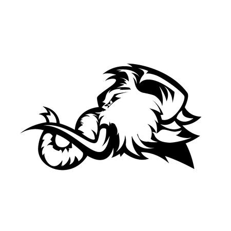 분노 털이 맘모스 머리 스포츠 벡터 로고 개념 흰색 배경에 고립. 현대적인 전문 마스코트 팀 배지 디자인입니다. 프리미엄 품질의 야생 동물 티셔츠