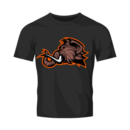Furious woolly mammoth head sport vector logo concept isolated on black t-shirt mock up. Modern professional mascot team badge design. Premium quality wild animal tee print illustration. Illustration