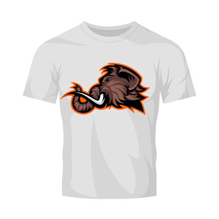 Furious woolly mammoth head sport vector logo concept isolated on white t-shirt mock up. Modern professional mascot team badge design. Premium quality wild animal tee print illustration. Illustration