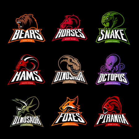 Bear, horse, snake, ram, fox, piranha, dinosaur, octopus head isolated logo. Modern badge mascot design. Premium quality wild animal, fish, reptile t-shirt tee print illustration.