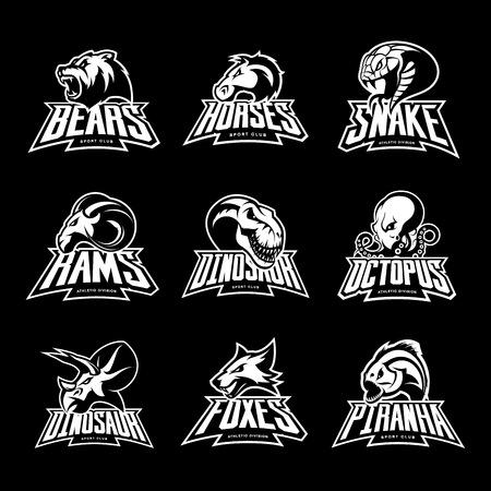 Bear, horse, snake, ram, fox, piranha, dinosaur, octopus head isolated vector logo. Modern badge mascot design. Premium quality wild animal, fish, reptile t-shirt tee print illustration. 일러스트