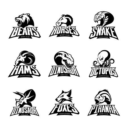 Beren, paard, slang, ram, vos, piranha, dinosaurus, octopus hoofd geïsoleerd vector logo. Modern badge mascotte ontwerp. Premium kwaliteit wilde dier, vis, illustratie van de reptiel t-shirt.