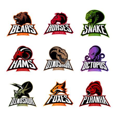 곰, 말, 뱀, 숫양, 폭스, 피라 냐, 공룡, 문어 머리 격리 된 벡터 로고. 현대 배지 마스코트 디자인입니다. 프리미엄 품질의 야생 동물, 물고기, 파충류 티