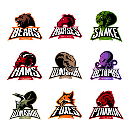 Bear, horse, snake, ram, fox, piranha, dinosaur, octopus head isolated vector logo. Modern badge mascot design. Premium quality wild animal, fish, reptile t-shirt tee print illustration. Vettoriali