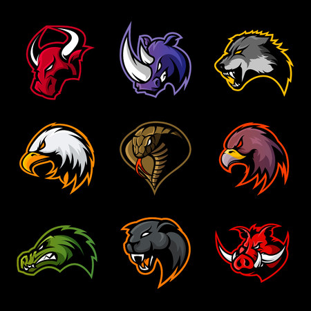 Bull, rhino, wolf, eagle, cobra, alligator, panther, boar head logo. Modern badge mascot design. Premium quality wild animal, bird, snake, t-shirt, tee print illustration. Illustration