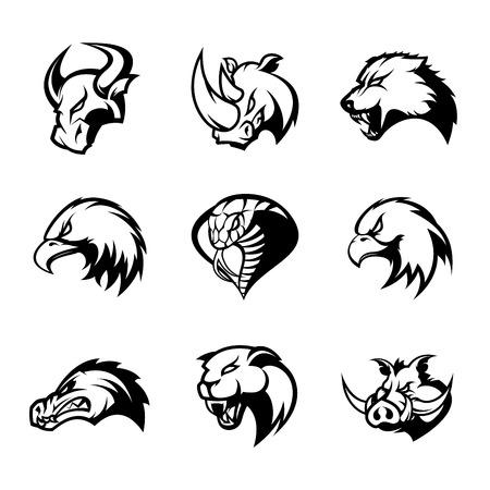 Bull, rhino, wolf, eagle, cobra, alligator, panther, boar head isolated vector logo concept set. Modern badge mascot design. Premium quality wild animal, bird, snake, t-shirt, tee print illustration.
