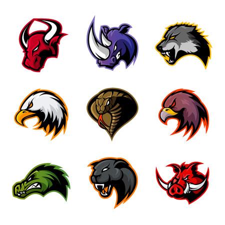 Bull, rhinocéros, loup, aigle, cobra, alligator, panthère, logo de sanglier. Design de mascotte moderne badge. Un animal sauvage de qualité supérieure, un oiseau, un serpent, un t-shirt, une illustration d'impression de tee. Logo