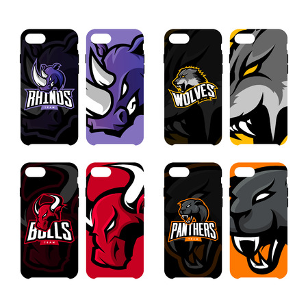 Furious rhino, wolf, bull and panther sport vector logo concept smart phone case. Modern professional team badge. Premium quality wild art artwork.