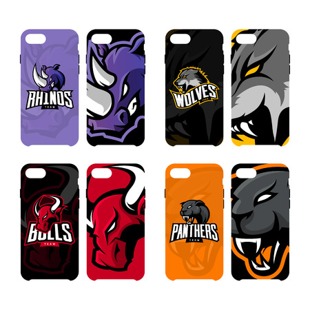 Furious rhino, wolf, bull and panther sport vector logo concept smart phone case. Modern professional team badge. Premium quality wild animal mascot cell phone cover illustration design. Çizim