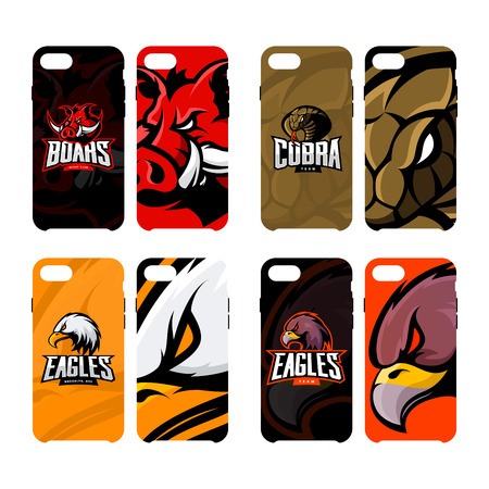 Furious boar, cobra, and eagle sport vector logo concept smart phone case. Modern professional team badge. Premium quality wild animal, snake and bird artwork cell phone cover illustration design.
