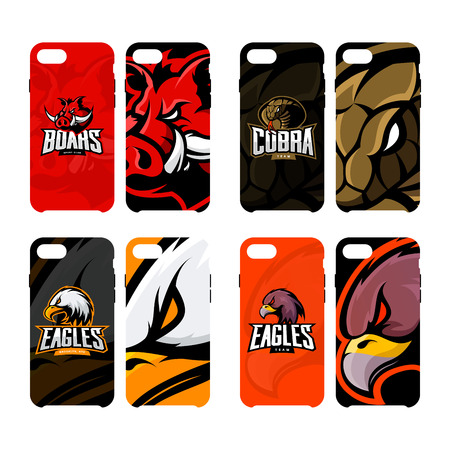 Furious boar, cobra, and eagle sport vector logo concept smart phone case. Modern professional team badge. Premium quality wild animal, snake and bird mascot cell phone cover illustration design.