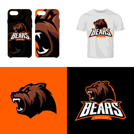 Bear head sport club isolated vector logo concept. Illustration
