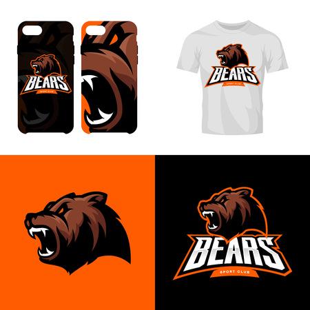 Bear testa sport club isolato vettoriale logo concetto. Archivio Fotografico - 80556365