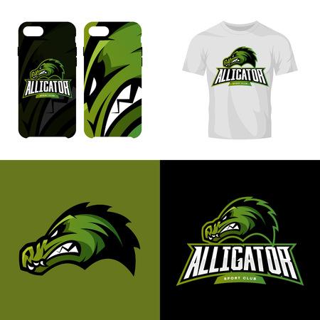 Alligator head sport club isolated vector logo concept.