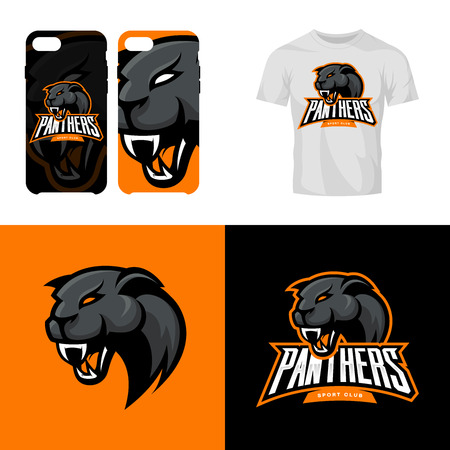Panther head sport club isolated vector logo concept. Modern professional team badge mascot design.Premium quality wild animal t-shirt tee print illustration. Smart phone case accessory emblem.