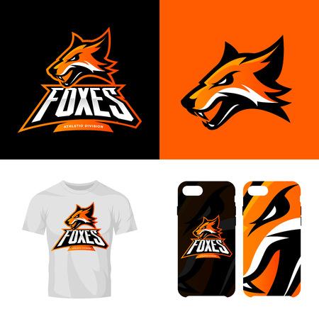 Fox head sport club isolated vector logo concept. Modern professional team badge mascot design.Premium quality wild animal t-shirt tee print illustration. Smart phone case accessory emblem.