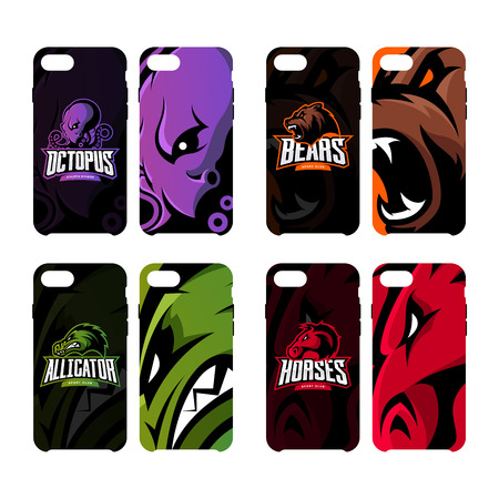 Furious octopus, bear, alligator and horse sport vector logo concept smart phone case. Modern professional team badge. Premium quality wild art artwork.