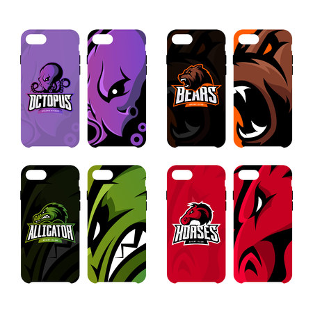 Furious octopus, bear, alligator and horse sport vector logo concept smart phone case. Modern professional team badge.