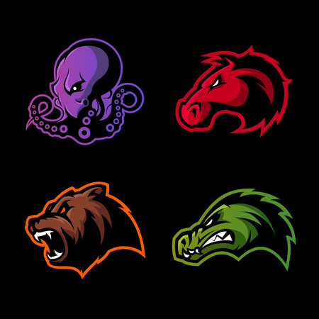 Furious octopus, bear, alligator and horse head sport vector logo concept set isolated on black background.