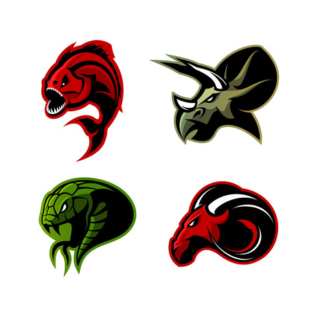 Furious piranha, ram, snake and dinosaur head sport vector logo concept set isolated on white background.