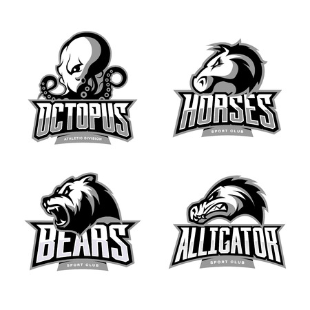 Furious octopus, horse, bear and alligator sport vector logo concept set isolated on white background. Illustration