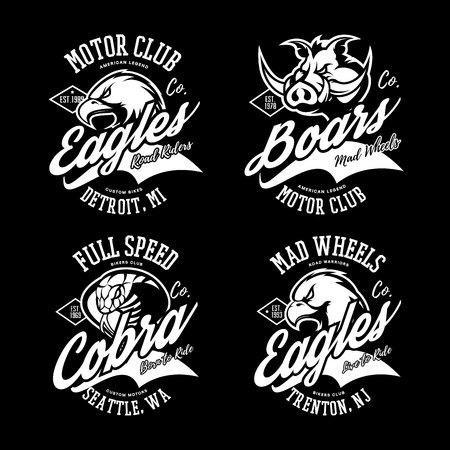 Vintage American furious eagle, boar and cobra bikers club tee print vector design set. Vektorové ilustrace