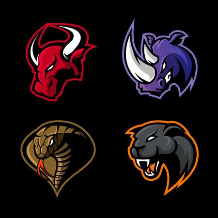 Wściekły nosorożec, byk, kobra i pantera sport wektor koncepcja logo zestaw na białym na czarnym tle. Projekt odznaki zespołu maskotka. Najwyższej jakości ilustracja nadruku koszulki z dzikimi zwierzętami i wężami.