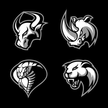 Woedende neushoorn, stier, cobra en panther sport vector logo concept set geïsoleerd op zwarte achtergrond. Mascotte team badgeontwerp. Hoogwaardige kwaliteit wilde dieren en slangt-shirt T-shirt print illustratie. Stock Illustratie