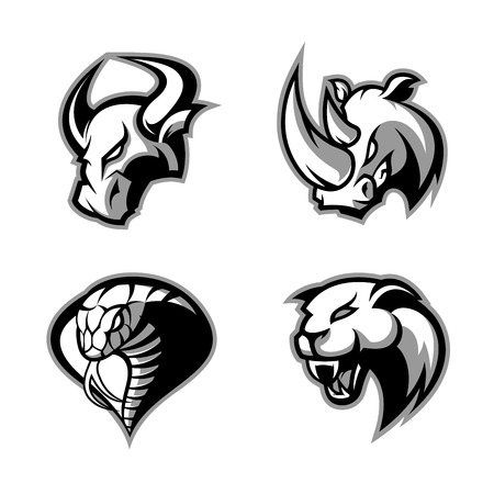Furious rhino, bull, cobra and panther sport vector logo concept set isolated on white background. Mascot team badge design. Premium quality wild animal and snake t-shirt tee print illustration. Vettoriali