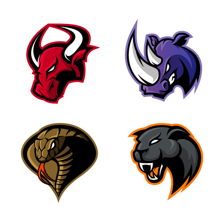 Furious rhino, bull, cobra and panther sport vector logo concept set isolated on white background. Mascot team badge design. Premium quality wild animal and snake t-shirt tee print illustration. Illustration