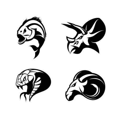 Furious piranha, ram, snake and dinosaur head sport vector logo concept set isolated on white background. Modern team mascot badge design. Premium quality wild animal t-shirt tee print illustration.