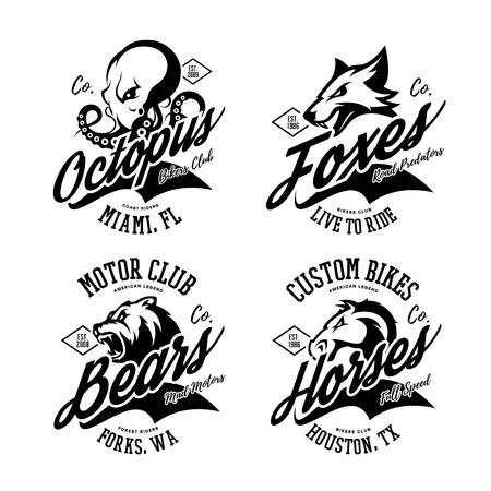 Vintage American furious octopus, fox, bear, horse bikers club tee print vector design set. Street wear mascot t-shirt emblem. Premium quality wild animal superior logo concept illustration.