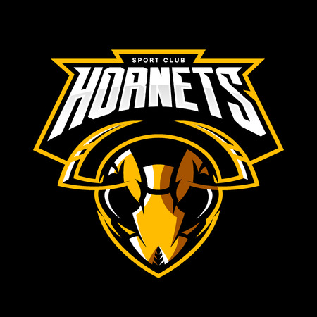 Furious hornet head of an athletic club vector logo concept isolated on a black background. Modern sport team mascot badge design. Premium quality wild insect emblem t-shirt tee print illustration.  イラスト・ベクター素材