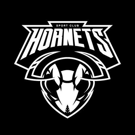 Furious hornet head of an athletic club vector logo concept isolated on a black background. Modern sport team mascot badge design. Premium quality wild insect emblem t-shirt tee print illustration. Vettoriali