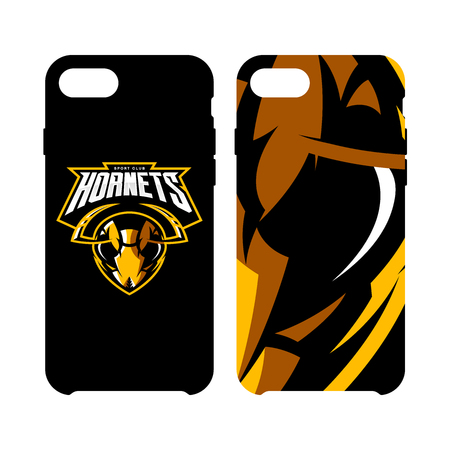 racing sign: Furious hornet head athletic club vector logo concept isolated on smart phone case. Modern sport team mascot badge design. Premium quality wild insect emblem cell phone cover illustration.