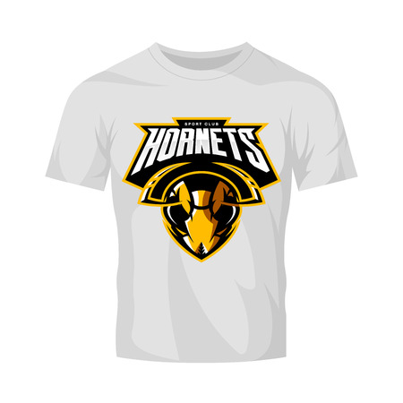 Furious hornet head athletic club vector logo concept isolated on white t-shirt mockup. Modern sport team mascot badge design. Premium quality wild insect emblem t-shirt tee print illustration.