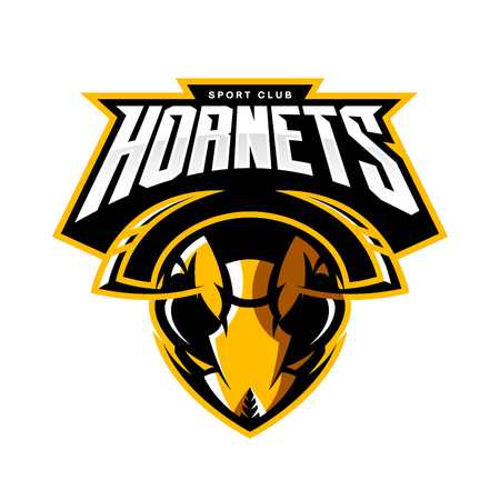 racing sign: Furious hornet head of an athletic club vector logo concept isolated on white background. Modern sport team mascot badge design. Premium quality wild insect emblem t-shirt tee print illustration.