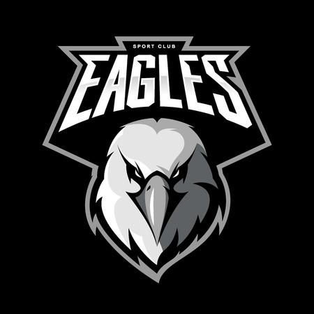 Furious eagle head. Modern sport team mascot badge design. Premium quality bird emblem t-shirt tee print illustration.