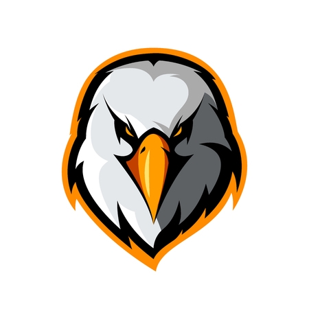 Furious eagle head athletic club vector logo concept isolated on white background. Stock Illustratie